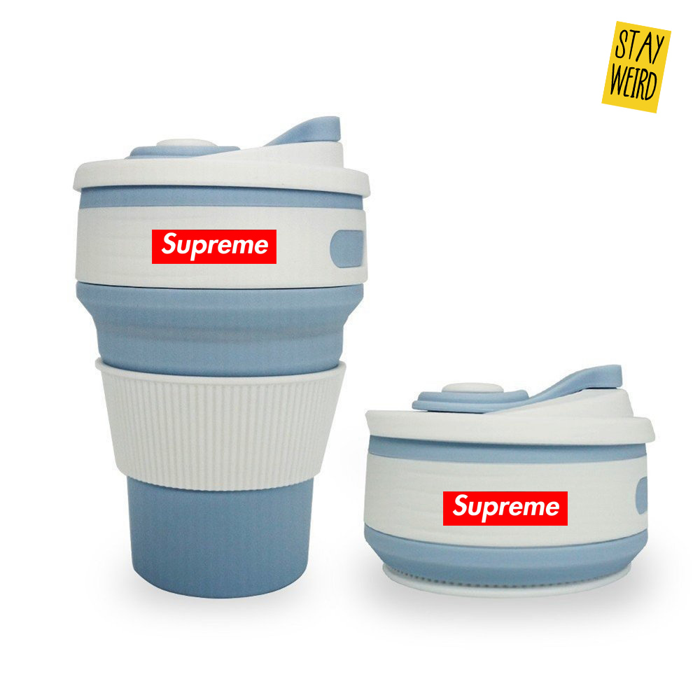 folding reusable silicone coffee mug for logo promotional product