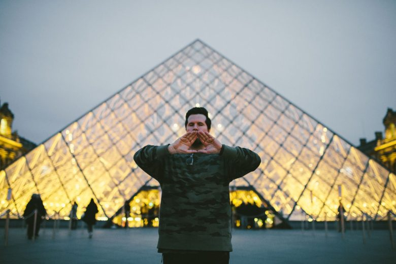 XVALA at the Louvre Pyramid, Paris, France for his MAGA film, 2017 - PromotionalMaterials.net
