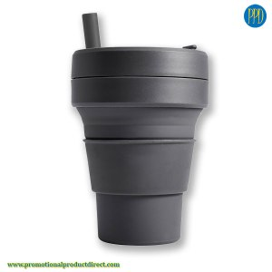 grey custom folding silicone collapsible coffee cup