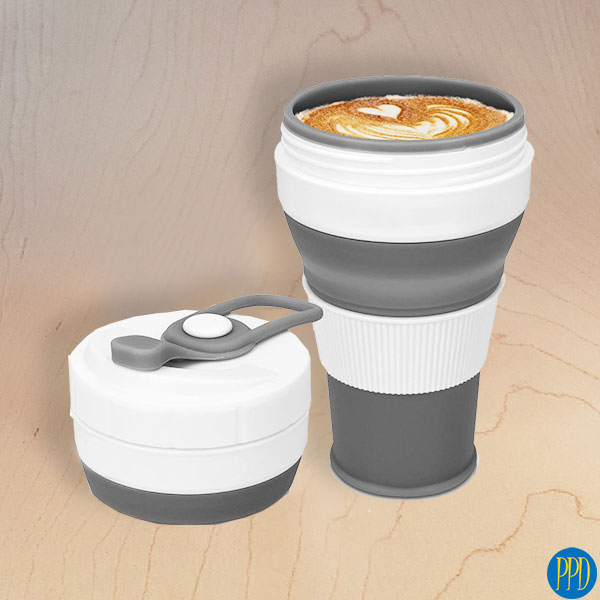 silicone folding packable coffee cup mug promotional product