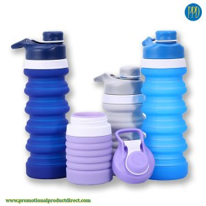 promotional product silicone collapsible water bottle with spout