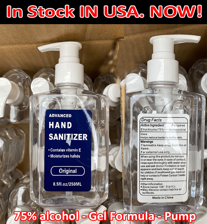 At the very start of the covid-19 outbreak we ordered 10,000 bottle of 8.5 ounce 75% alcohol content hand sanitizer with a PUMP!