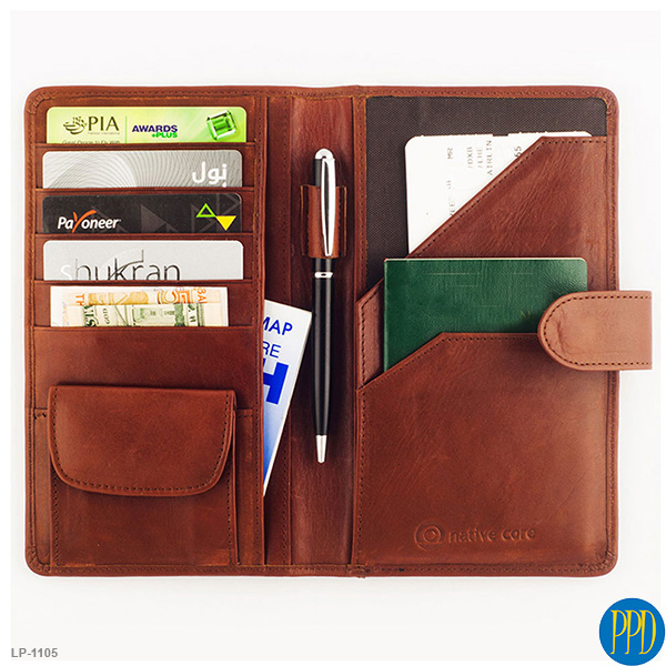 Leather custom travel wallet