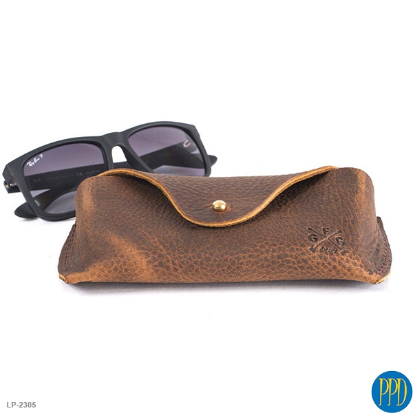 leather promotional products vintage look eye glass case