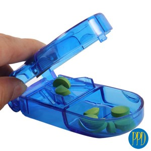 Custom pill case with pill cutter.Go anywhere pill case with a built-in pill cutter. Perfect for pharma and health promotions. Promotional Product Direct