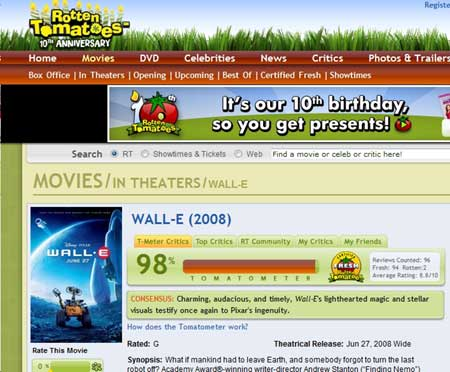 Rotten Tomatoes, Your Movie Reviews, Recognition, and Website Traffic