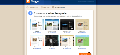 Blogger, Choose a Starter Template Screenshot