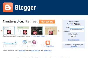 Blogger Sign Up Screen Shot
