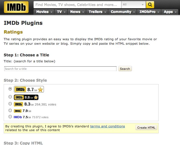 IMDb Rating Plugin lets Publishers Add IMDb Ratings to their Website