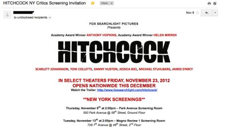 Hitchcock Critics Screening Invitation
