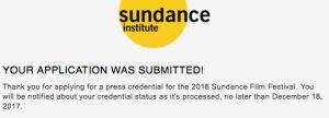 Malinda Money 2018 Sundance Film Festival Press Accreditation Acknowledgement