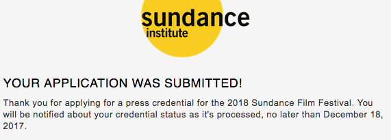 Malinda Money 2018 Sundance Film Festival Press Accreditation Acknowledgement