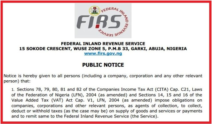 FIRS PUBLIC NOTICE