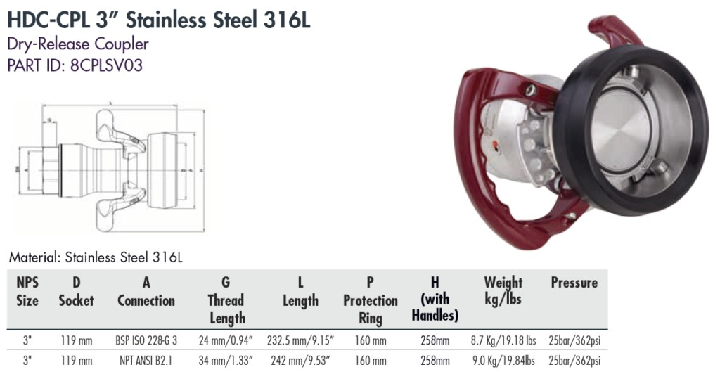 """HDC-CPL 3"""" Stainless Steel 316L"""