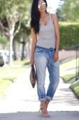 H&M Boyfriend Jeans + Grey Tank + Shoemint Lace up sandals Romy in Tan + Leopard Clutch + Shop Caravan reflective sunglasses - Mirrored sunglasses-3