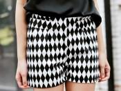 fdfd1709-European-street-Style-Van-Vintage-Black-And-White-Geometric-Diamond-Lattice-Shorts-Pants-Free-Shipping
