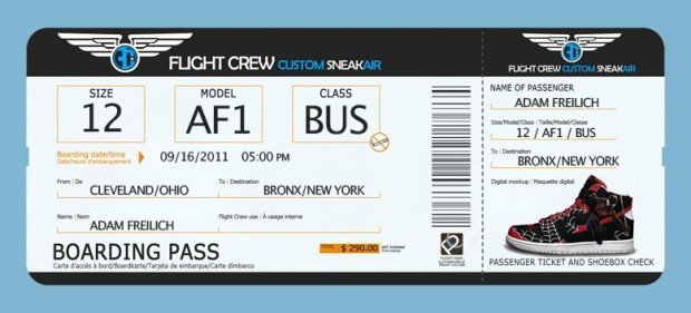 Custom Shoes Boarding Pass