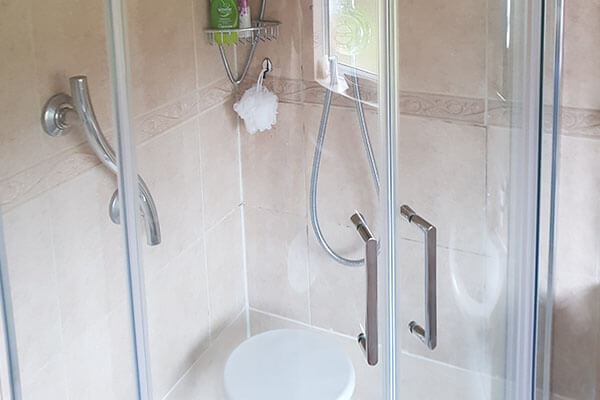 image of large grab rails for the less abled using a wetroom