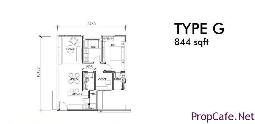 Type G: 844sf 2Bedroom + 1 Office + 2Bath