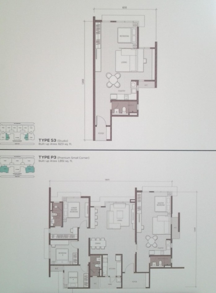 The Prized 623sqft Studio and premium small corner layout