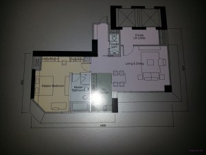 Layout of Unit H, Tower A, 1 bedroom 1119sq