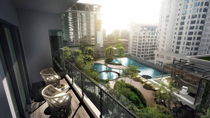View from the balcony of a V Residences 2 unit, overlooking the stunning swimming pool facility