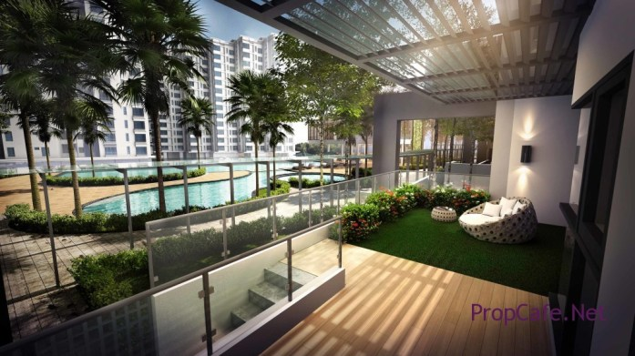 The exclusive cabana-style unit with private garden and easy access to the swimming pool facility