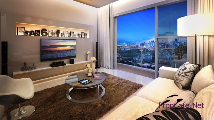 View from the living room of a V Residences 2 unit with the breathtaking view of the KL Skyline