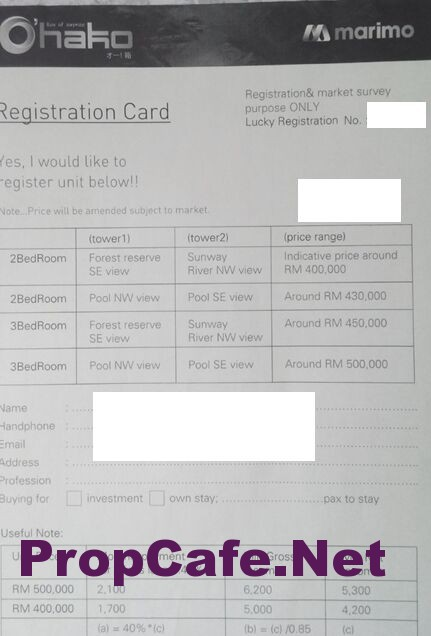 Ohako Registration Card