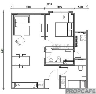 Type C 703sqft 2 bedrooms