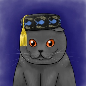 Scottish Fold in a Smoking Cap