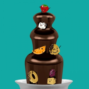 Chocolate fountain with cartoon fruit