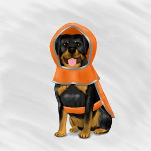 Rottweiler in a Raincoat