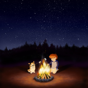 Boy and corgi dog at campfire illustration