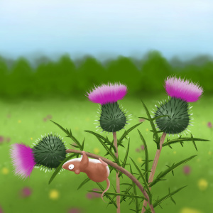 Mouse upside down on thistle children's illustration