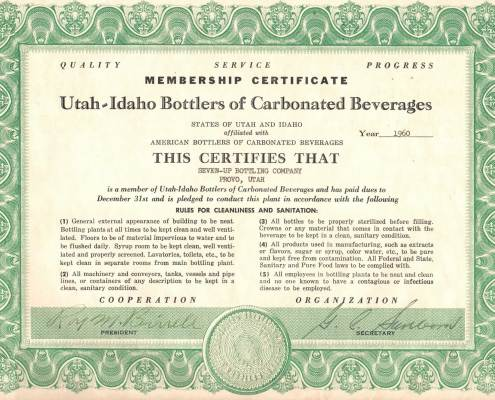 Utah-Idaho Bottlers of Carbonated Beverages Certificate received by Pepsi and 1960.