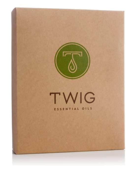 Twig Essential Oils packaging.