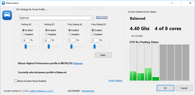 Bitsum ParkControl Pro 1.3.1.8 Screenshot 1