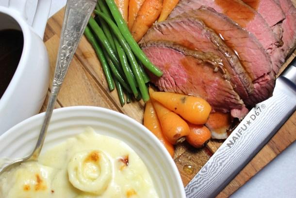 Topside beef roast dinner