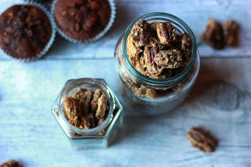 sugared pecans in jars
