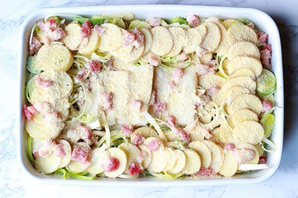 cypriot potatoes, leeks and haddock bake