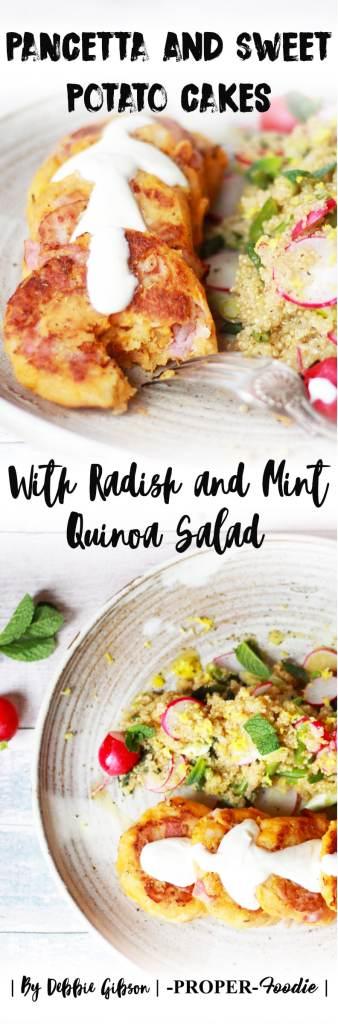 Pancetta and sweet potato cakes with radish and mint quinoa salad