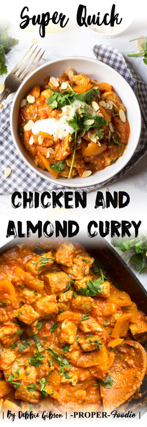 Super quick chicken and almond curry