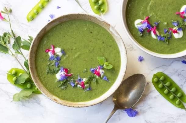 pea mint and samphire soup