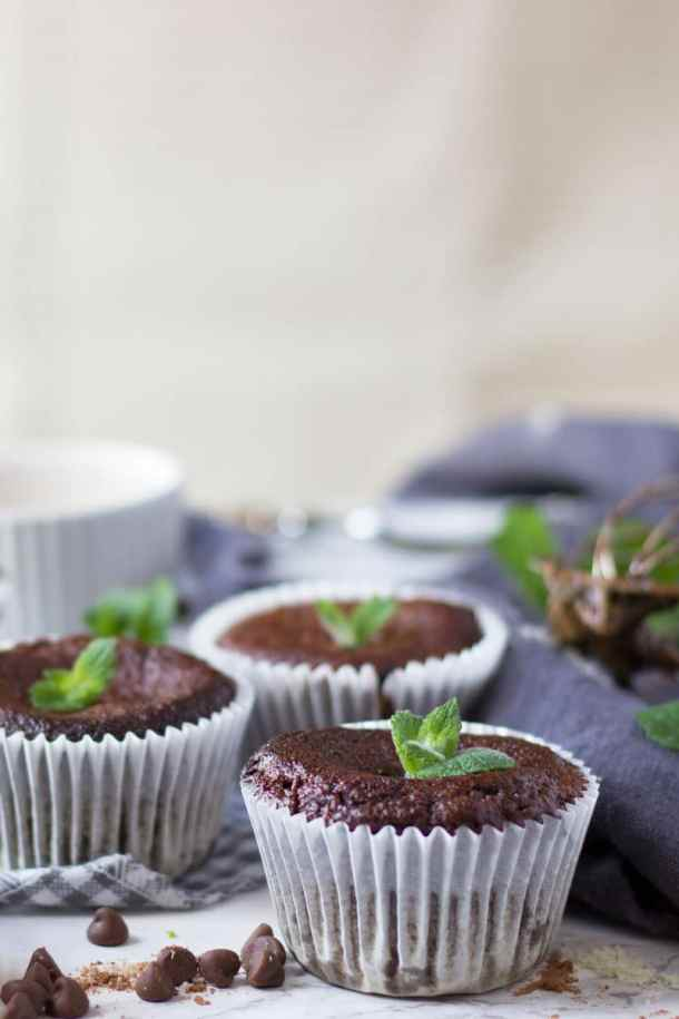 High protein chocolate courgette muffins