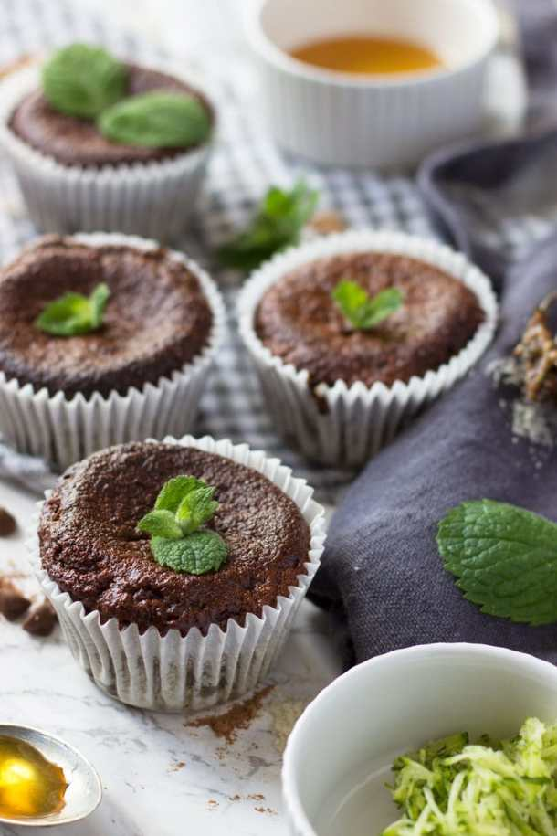 mint chocolate courgette muffins