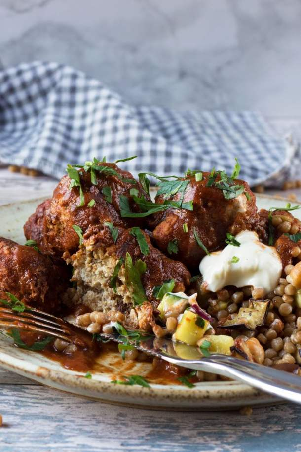 Work with me properfoodie nutritionist chef food photographer moroccan meatballs with giant cous cous forumfinder Images