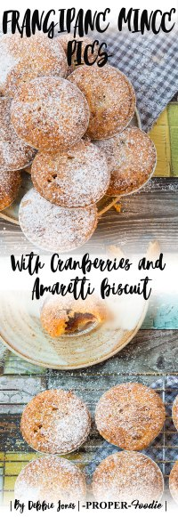 Frangipane mince pies with cranberries and amaretti biscuit