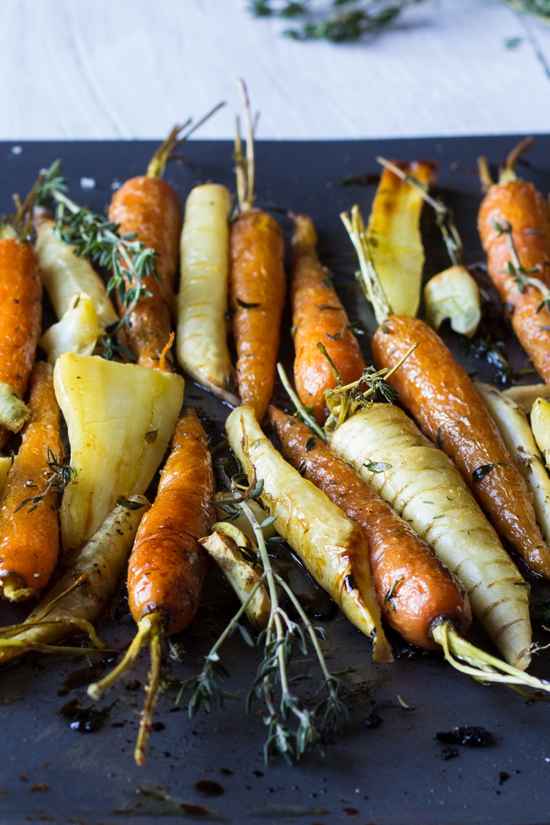 Honey roast root vegetables carrots and parsnips
