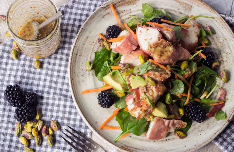 Chicken, Prosciutto and Blackberry Salad